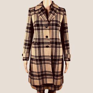 LOFT Camel/Black Plaid Long Blazer & Skirt Suit